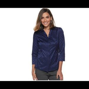 Dana Buchman women jacquard Navy 3/4 sleeve shirt